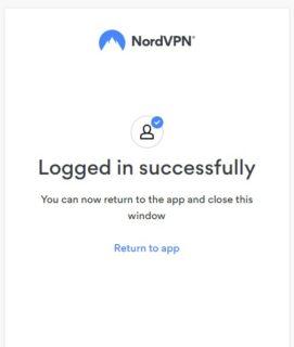 NordVPNアプリログイン完了