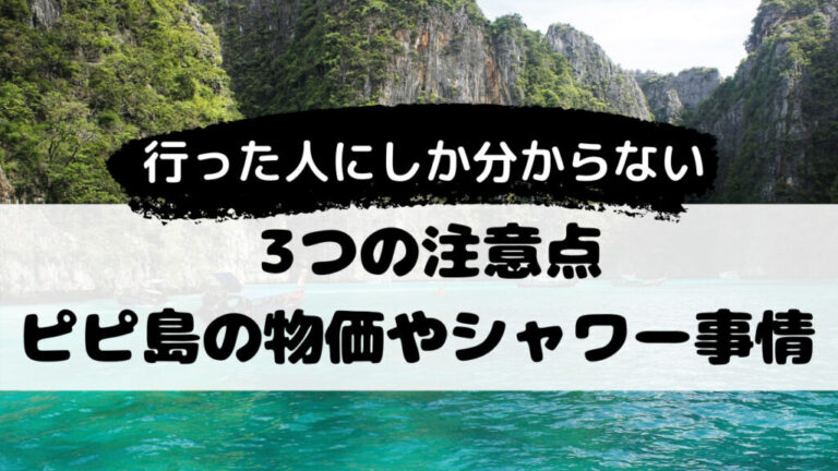 ピピ島の物価や潮水シャワーなど注意点