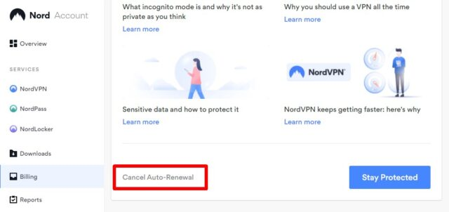 NordVPNの自動契約更新解除