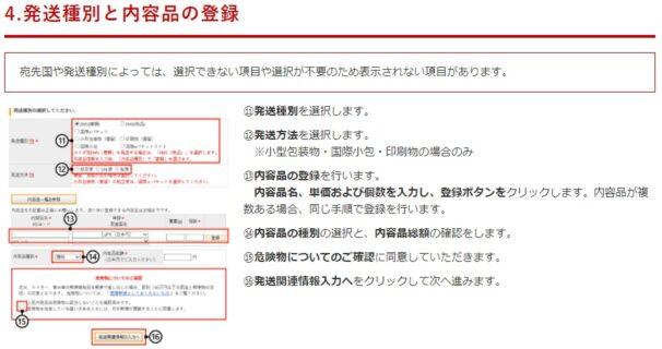 国際郵便マイページサービスの記入項目