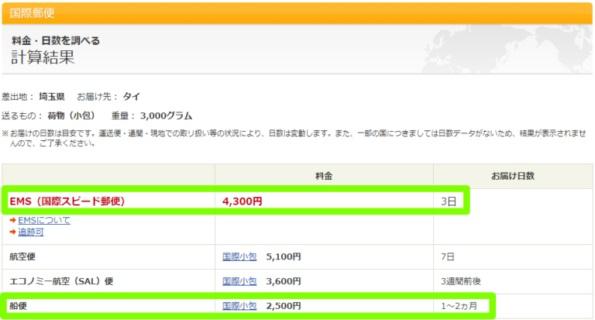 日本からタイへの船便料金
