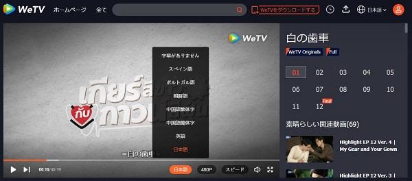 WeTVの日本語字幕付きタイドラマ